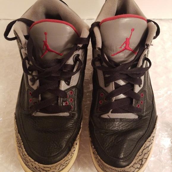 brand new 76411 c0ea9 Nike Air Jordan 3 Black Cement Mens Sneakers